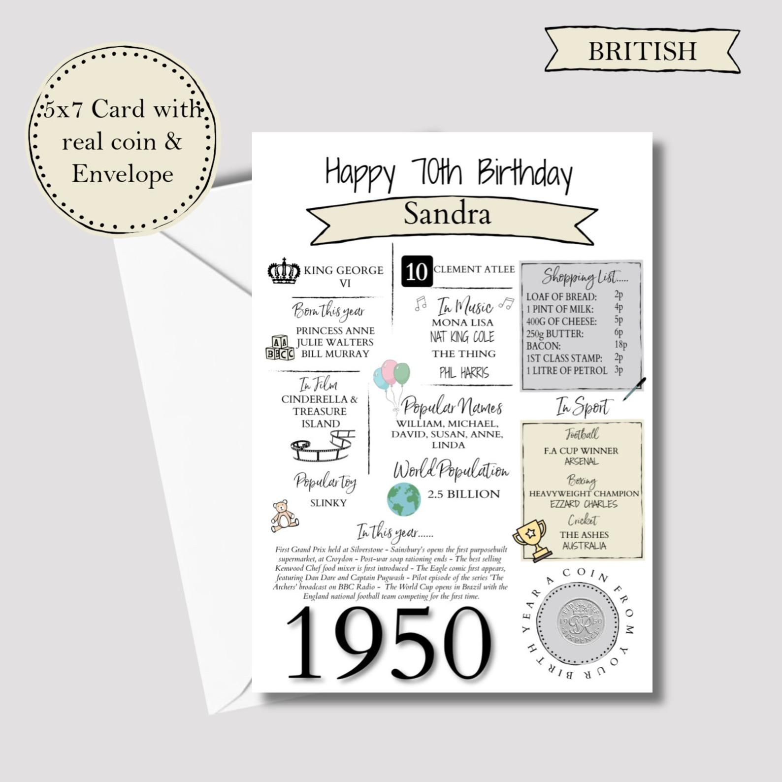 Personalised 70th Birthday Card With 1950 Sixpence In Britain Etsy Boy 16th Birthday 70th Birthday Card 70th Birthday