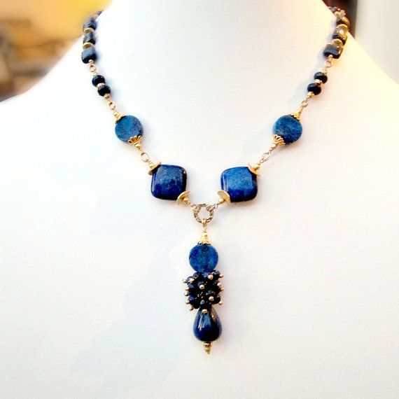 Navy Blue Necklace Lapis Necklace Gold Jewelry by jewelrybycarmal, $135.00