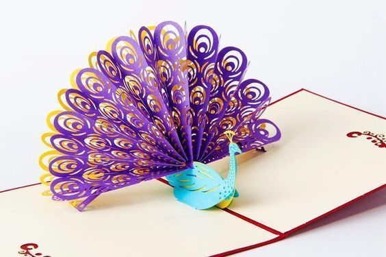 These 3D pop-up cards are perfect. Laser cut and hand assembled, this stunning peacock card is designed to be displayed opened flat so that the peacock takes pride of place. The card (unopened) is 15 x 15cm and has a pretty peacock cut out. | eBay!