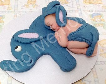 Fondant BABY With ELEPHANT Cake Topper Baby. By Anafeke On Etsy