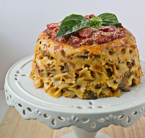 Bow-Tie Pasta Timballo with Ham, Mushrooms, and Peas by Culinary Hill