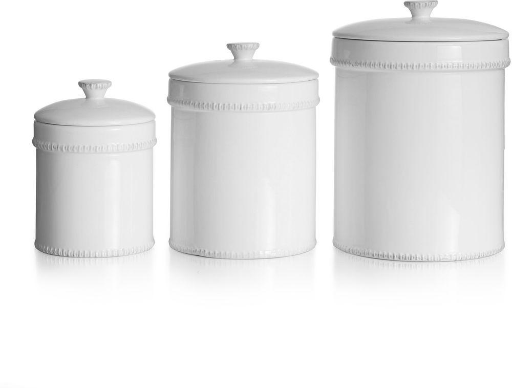 Artistic White Canister Earthenware Kitchen Storage Unique ...