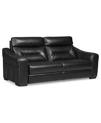 Judson Leather Reclining Sofa Dual Power Recliner 84 Quot W X