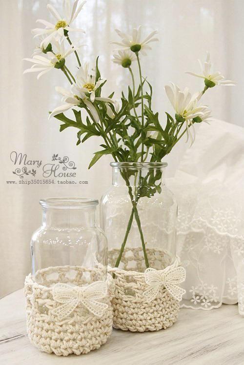♥umhäkelte Fläschen/Vasen | Room Inspiration | Pinterest | Vasen ...
