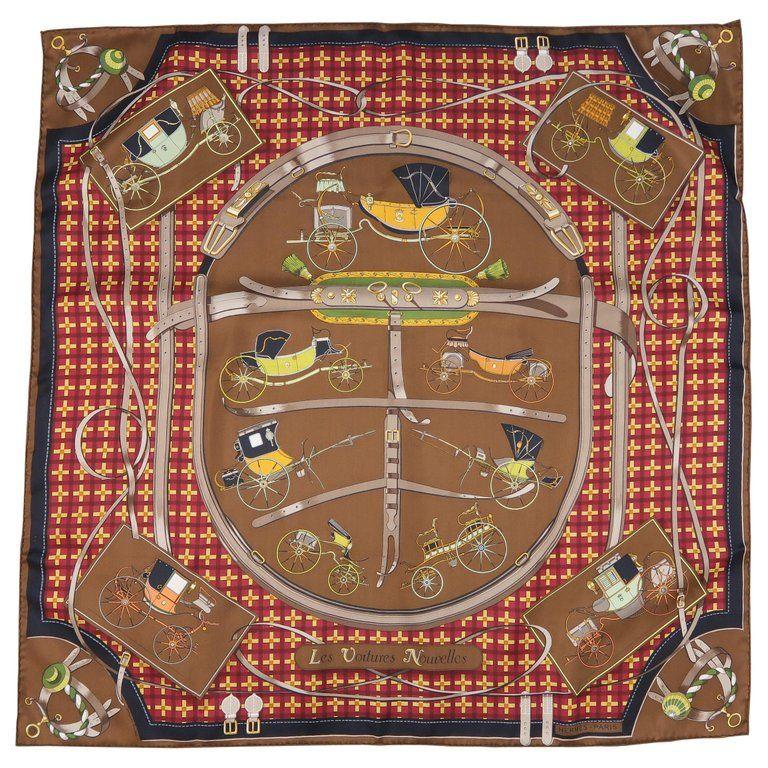 ed356e8463 HERMES Brown Silk Les Voitures Nouvelles ANtique Coaches Print Scarves