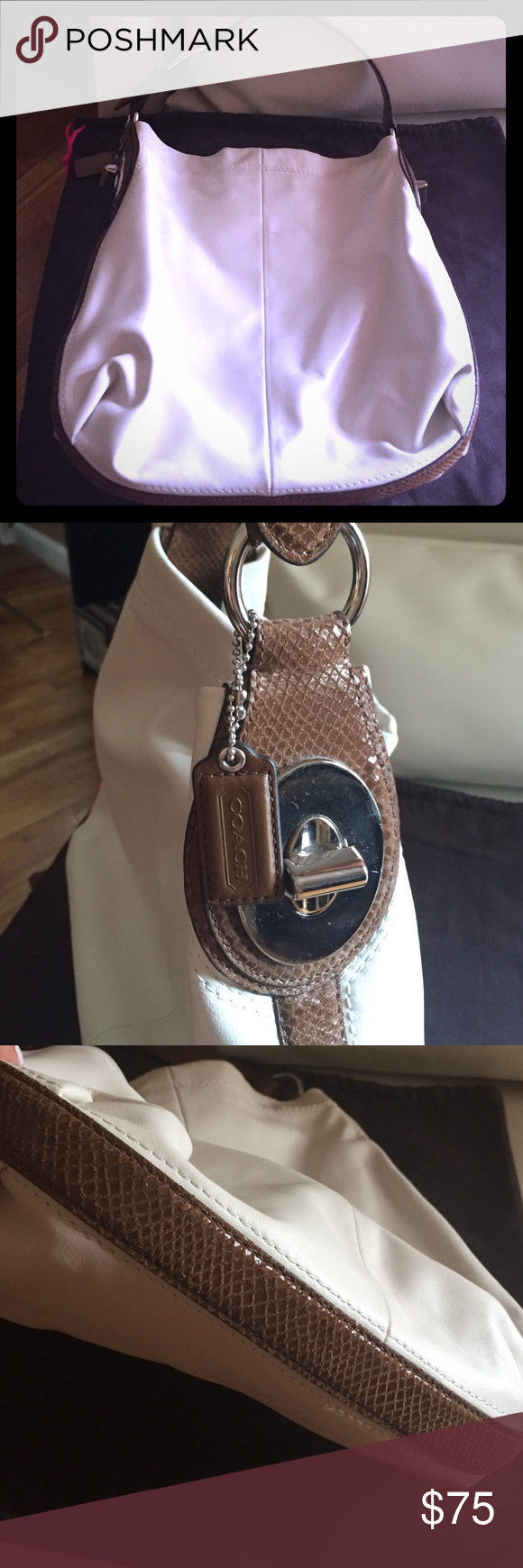 Coach Hobo. Cream w/brown snake print strap. Used. Used a couple of times but still in excellent condition. Accents are silver. Bag is 100% leather cream color which resembles more of a bone white and straps/piping are a beautiful brown snake print suede. Will ship with dust bag. Coach Bags Hobos