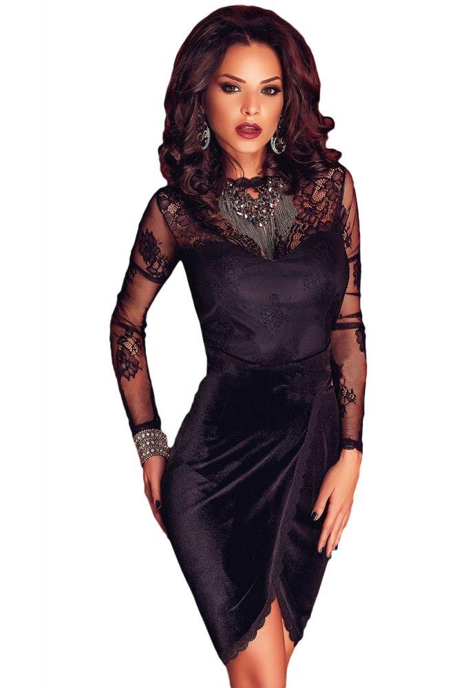 Size black velvet long sleeve bodycon dress outfit qvc shopping