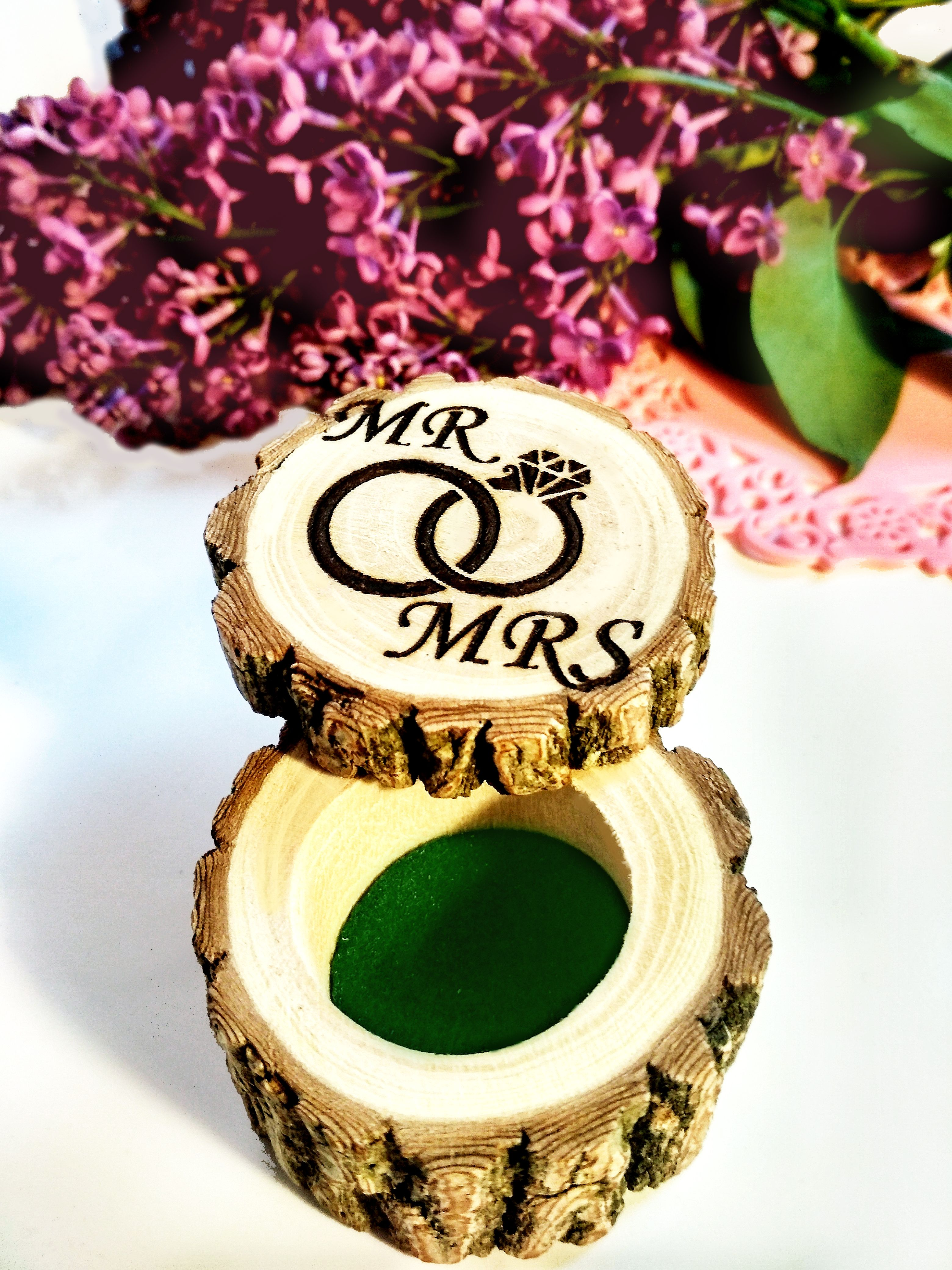 Personalized Wood Ring Box / Wooden Engagement Ring Box