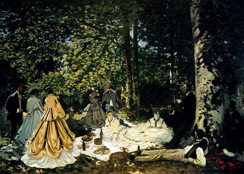Claude Monet - Le déjeuner sur l'herbe à Fontainebleau, avec Gustave Courbet, 1865–1866