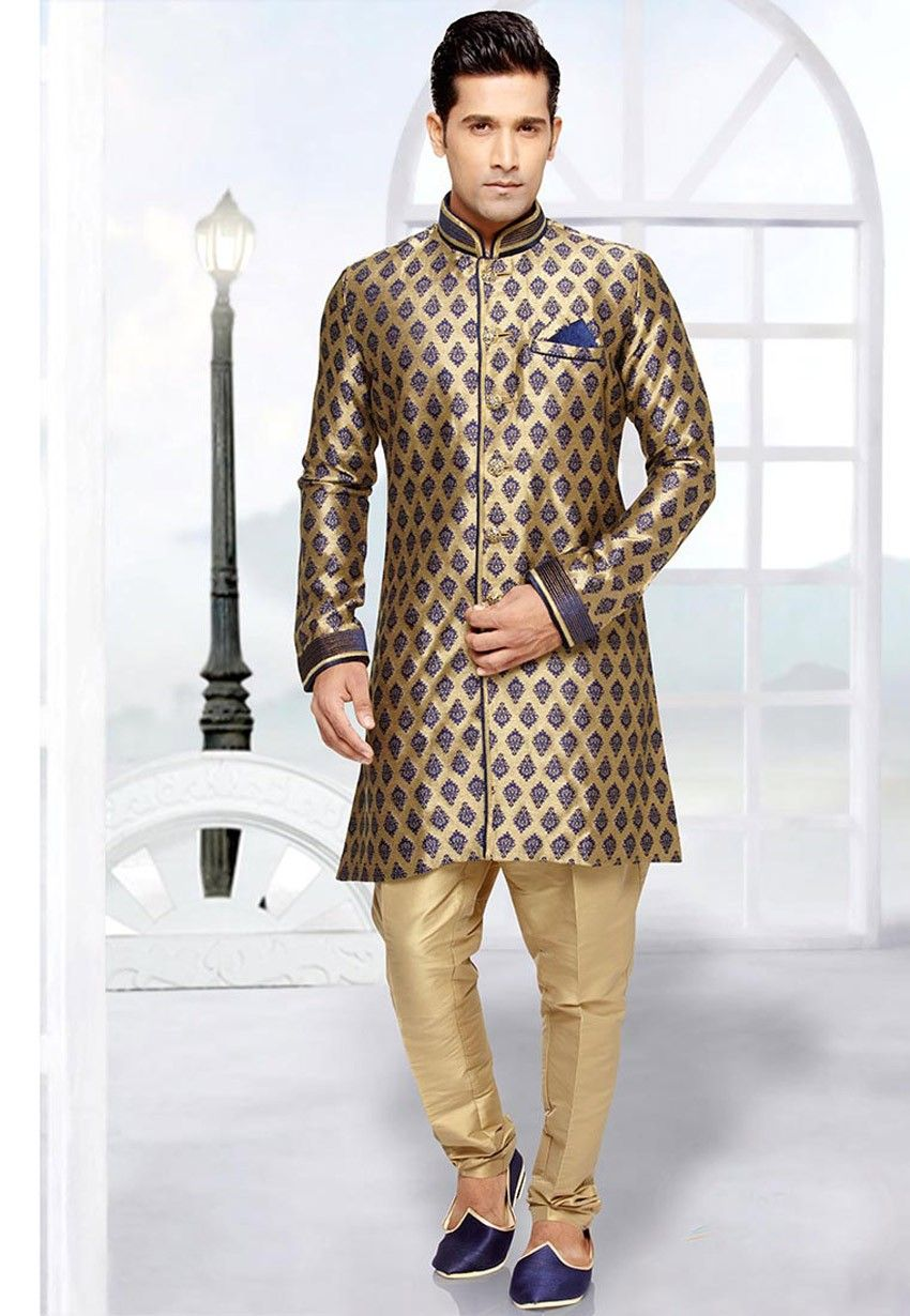 Blue latest fashion pakistani wedding sherwani fancy fancy