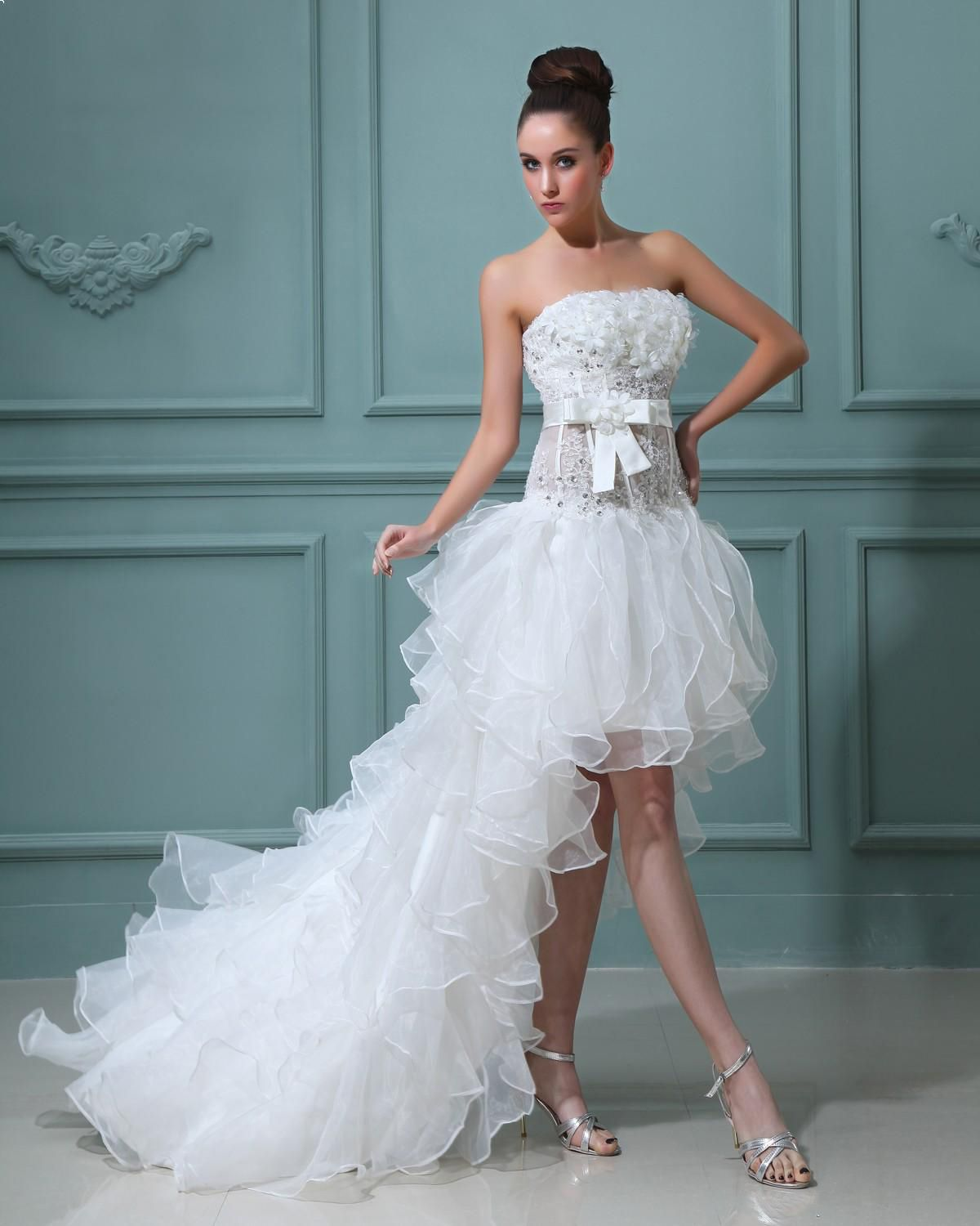 Ruffle Strapless Short Bridal Gown Wedding Dress Read More: http ...