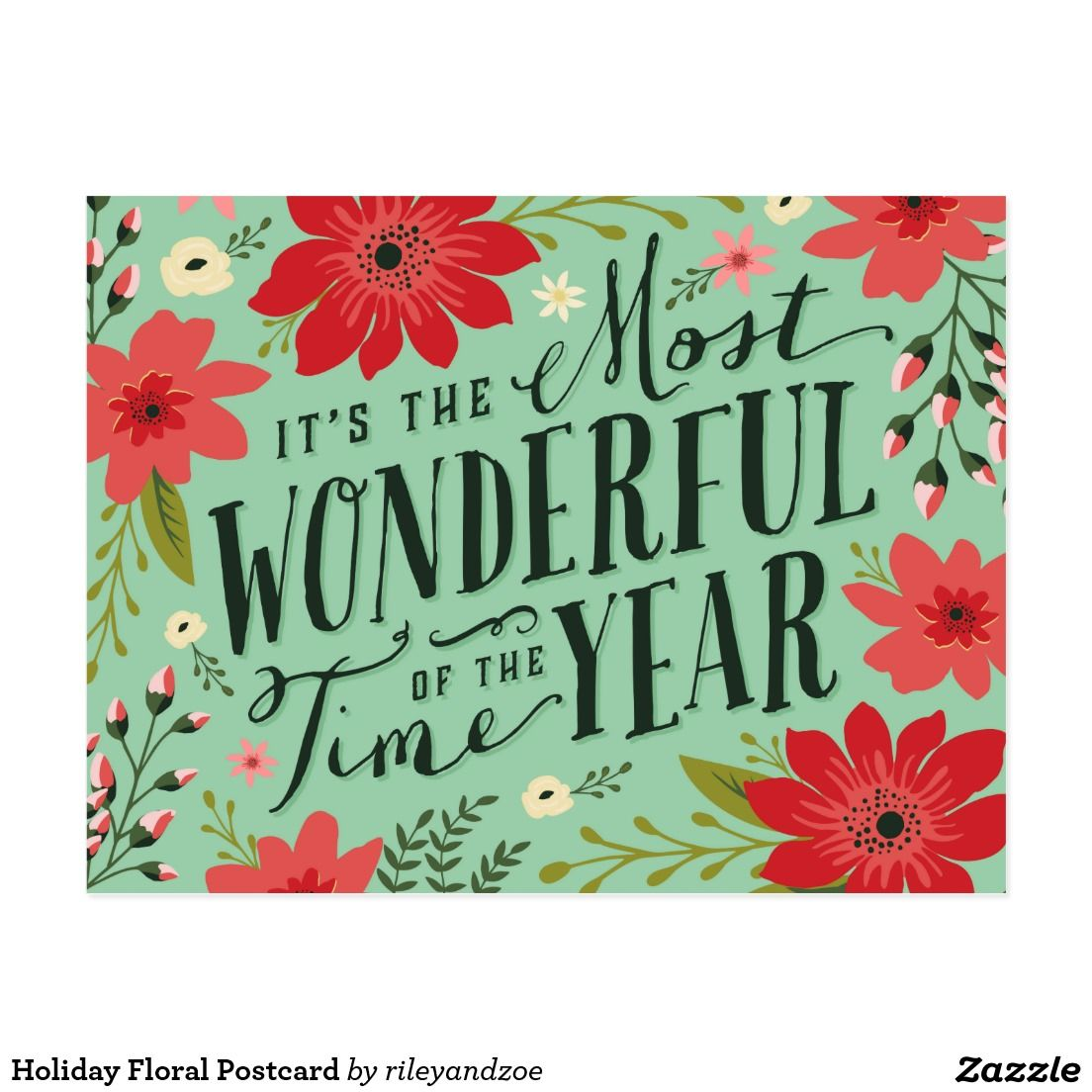 Holiday Floral Postcard Season Greeting Cards Pinterest Floral