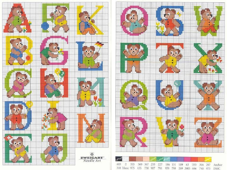 Schema punto croce alfabeto orsetti punto croce for Alfabeto bambini punto croce