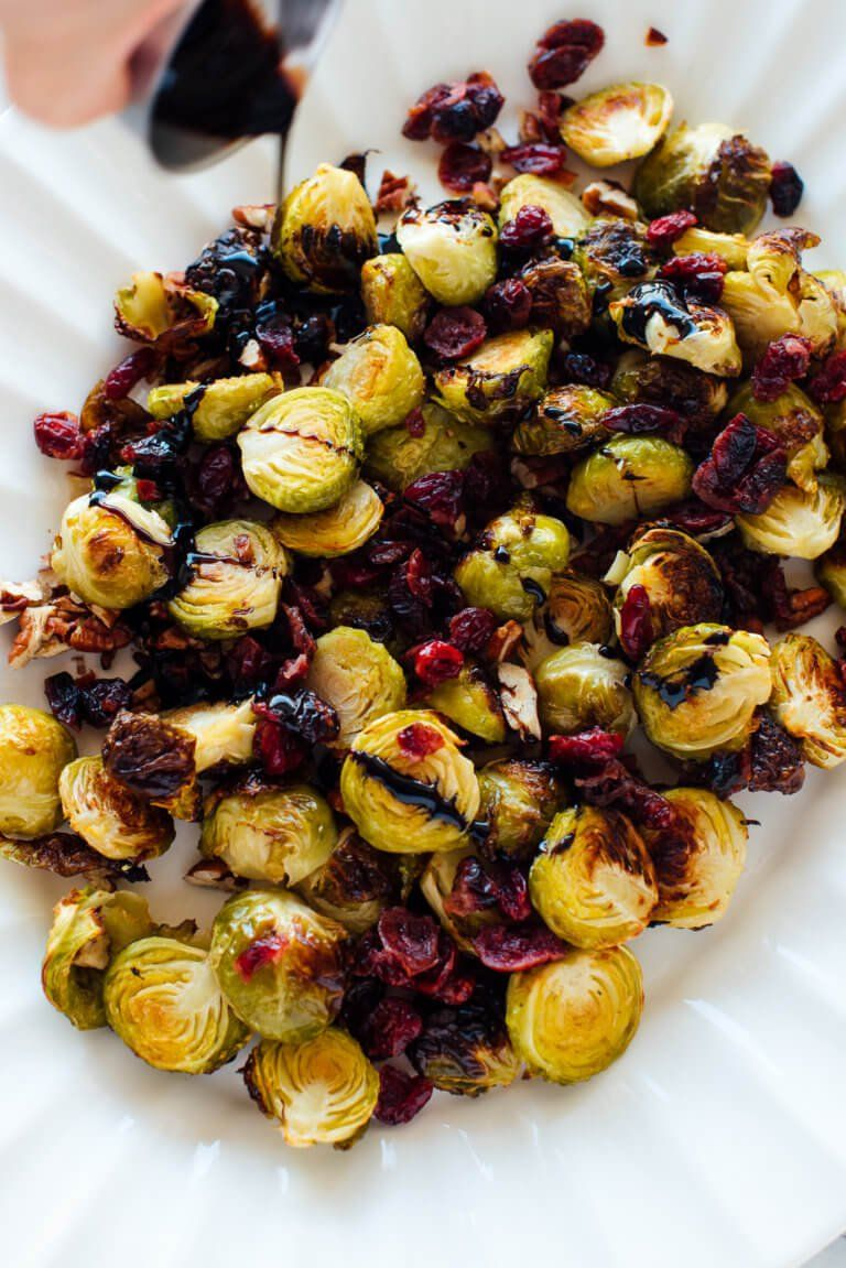 Balsamic Roasted Brussels Sprouts With Cranberries