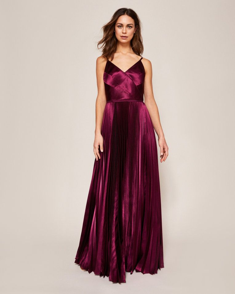 497a8c44e2e4 Pleated satin maxi dress - Deep Purple