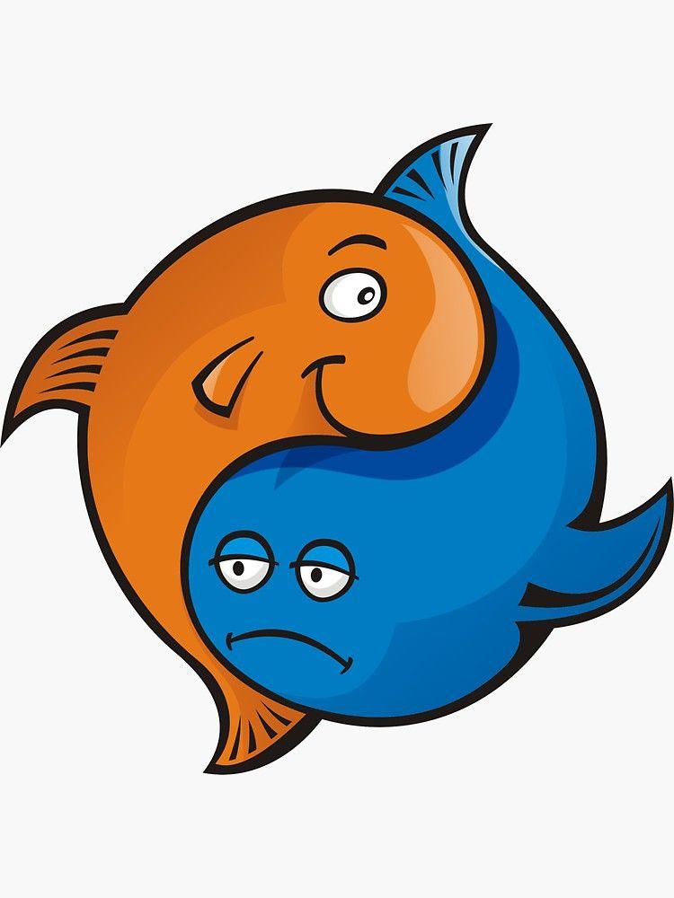 Yin Yang Fish Cartoon Sticker By Sifis In 2020 Yin Yang Fish