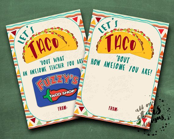 Let's TACO 'Bout How Awesome You Are!   Let's TACO 'Bout What An Awesome Teacher You Are!    5x7 Teacher Appreciation Gift Card Holder #custodianappreciationgifts