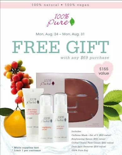 Gift with Purchase starting Monday! #100%Pure #Annapolis #Organic