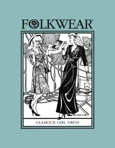 Folkwear 233 Glamour Girl Dress 1930/'s 1940/'s Hollywood Sewing Costume Pattern