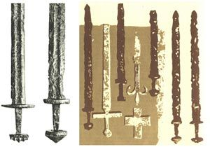 Early Croatian swords found in the graves of Croatian warriors in Biskupija near Knin (10th and 11th century)