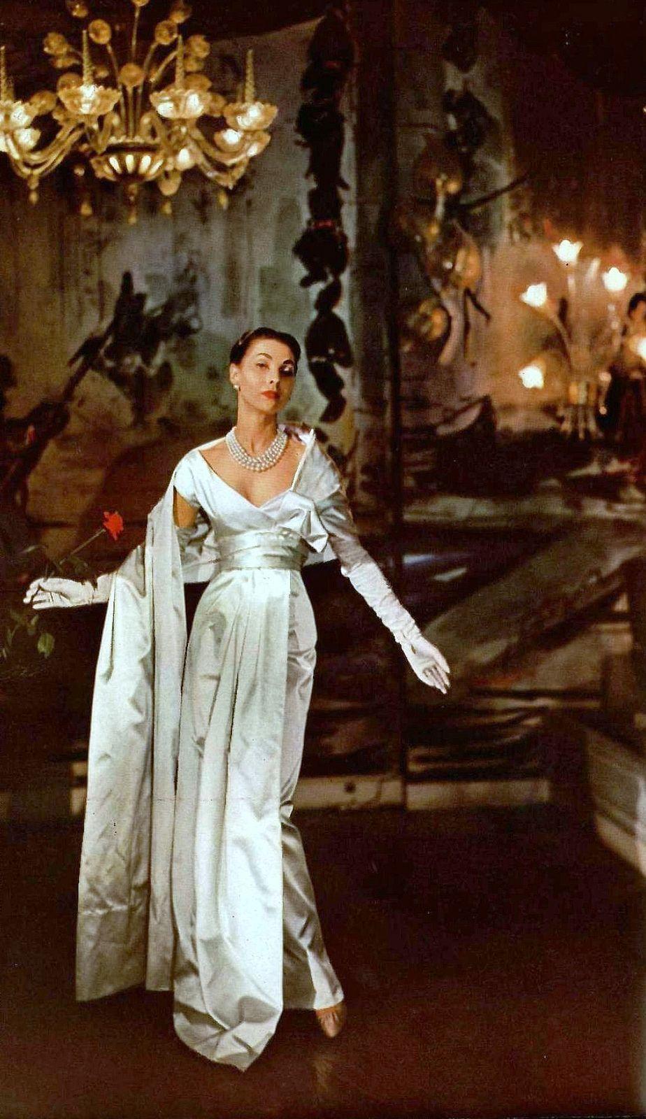 Renée Breton in Christian Dior s elegant white satin gala evening gown d4744b89b3a