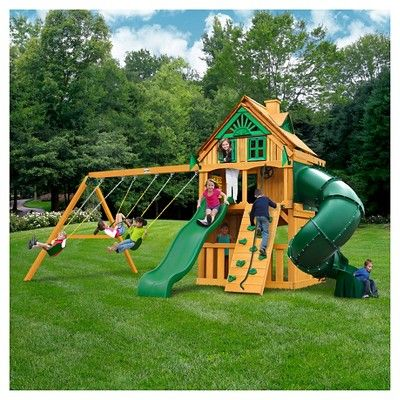 Gorilla Playsets Mountaineer Clubhouse Treehouse Swing Set With Fort