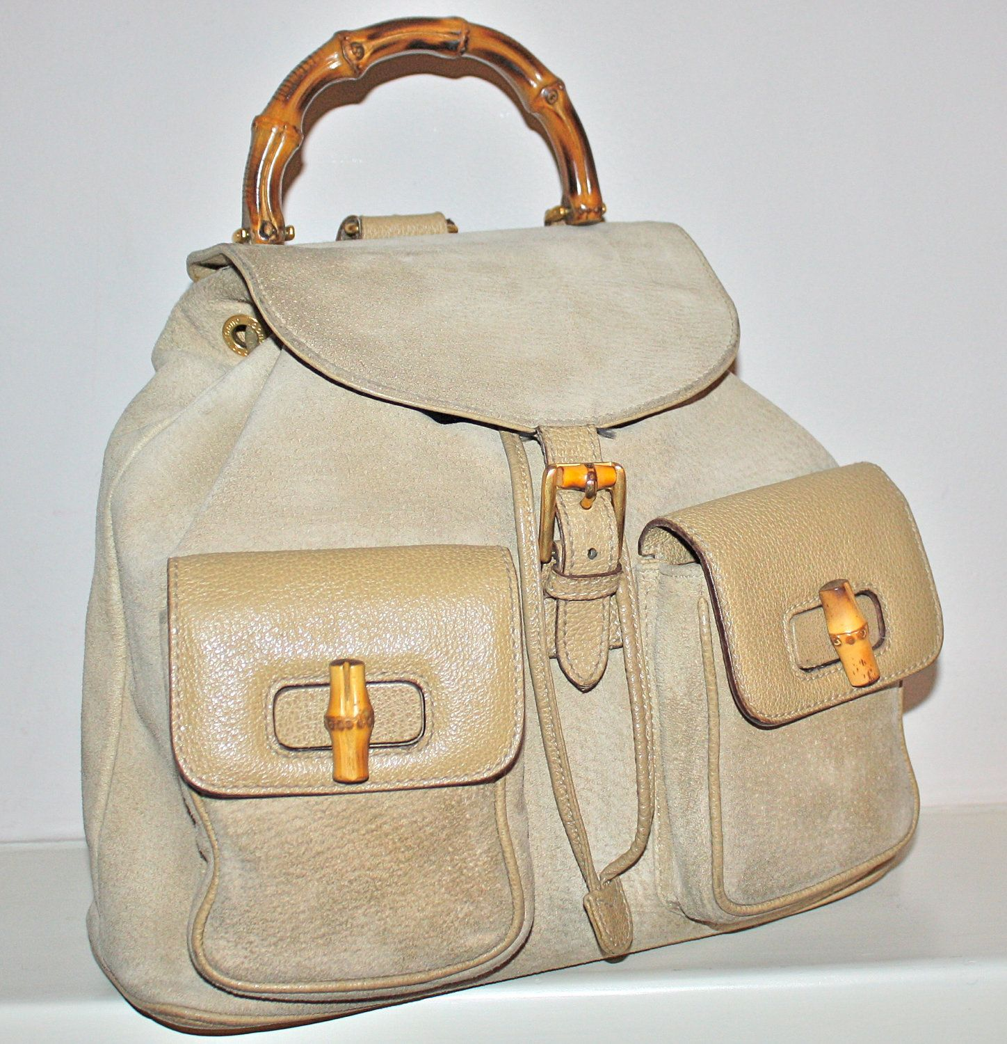 7e500a937aeb VINTAGE GUCCI BACKPACK Authentic Tan Suede Leather Bamboo Rucksack ...
