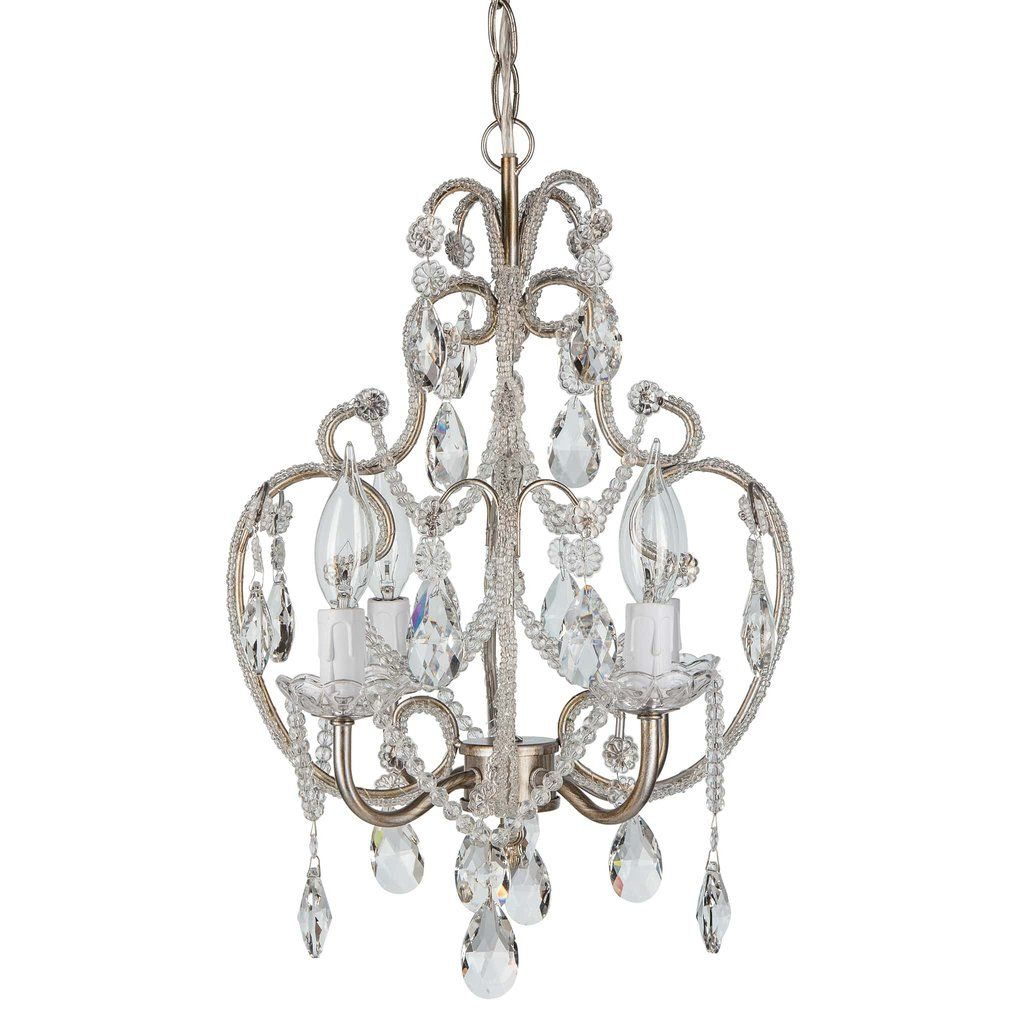 4 Light Beaded Crystal Plug-In Chandelier (Silver)   Glass crystal ...