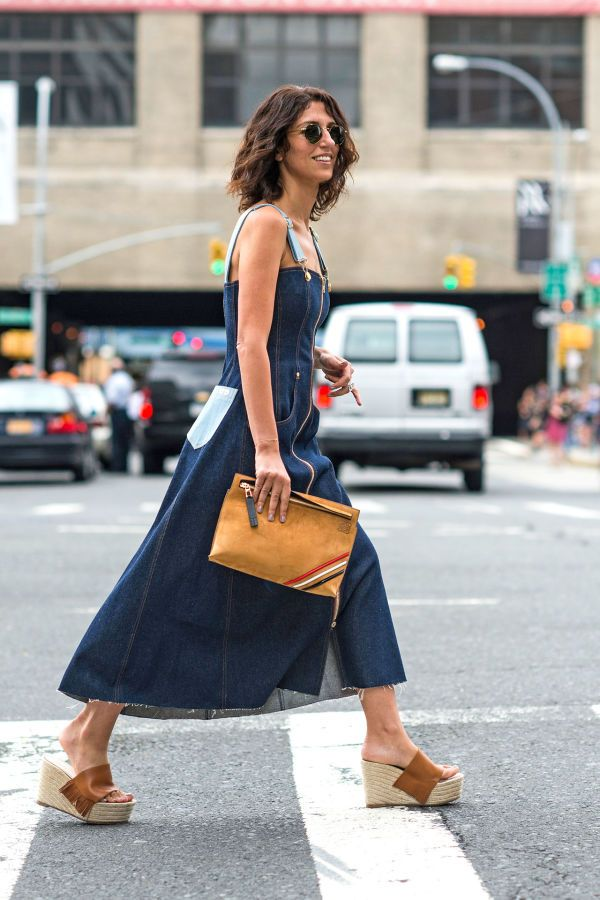 201316c9d920 button-down denim dress and platform wedge slip on sandals with a leather  clutch
