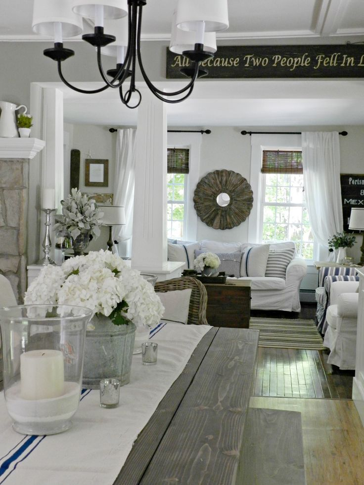 Dining Room Decor Ideas   Rustic, Farmhouse Style With Pretty Touches  Including Farmstyle Wood Table