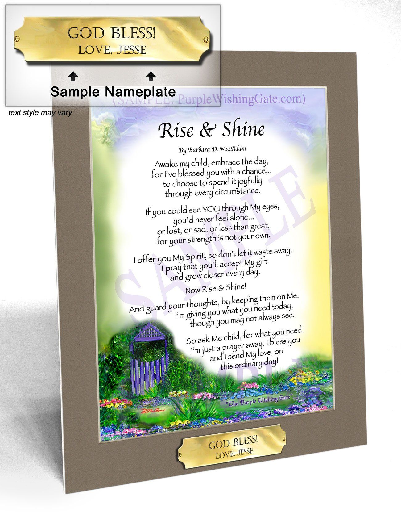Rise And Shine (Daily Blessing) Framed, Personalized  Purplewishinggatecom