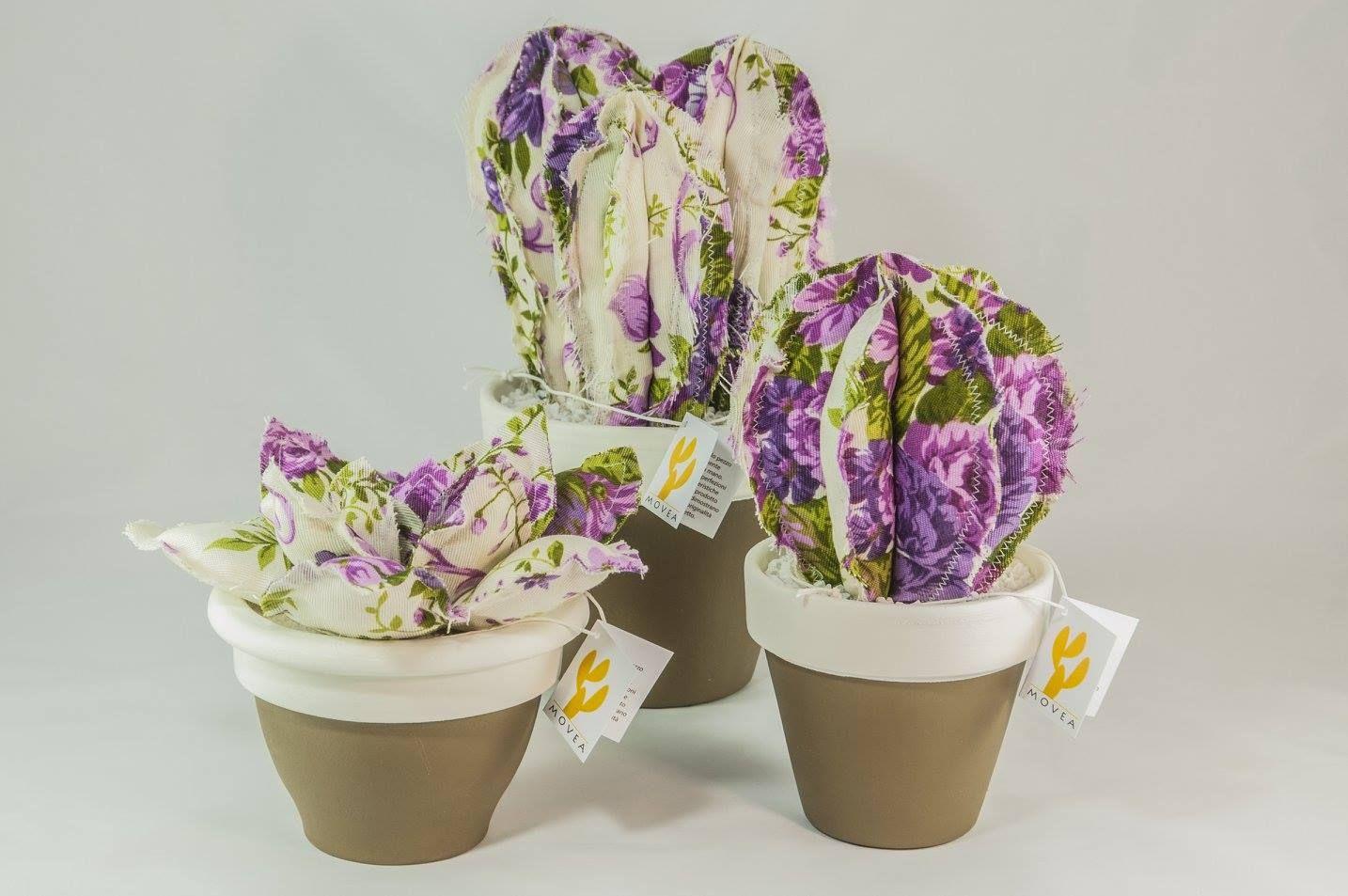 Cactus in tessuto. Piante artificiali realizzate a mano. Made in Italy.