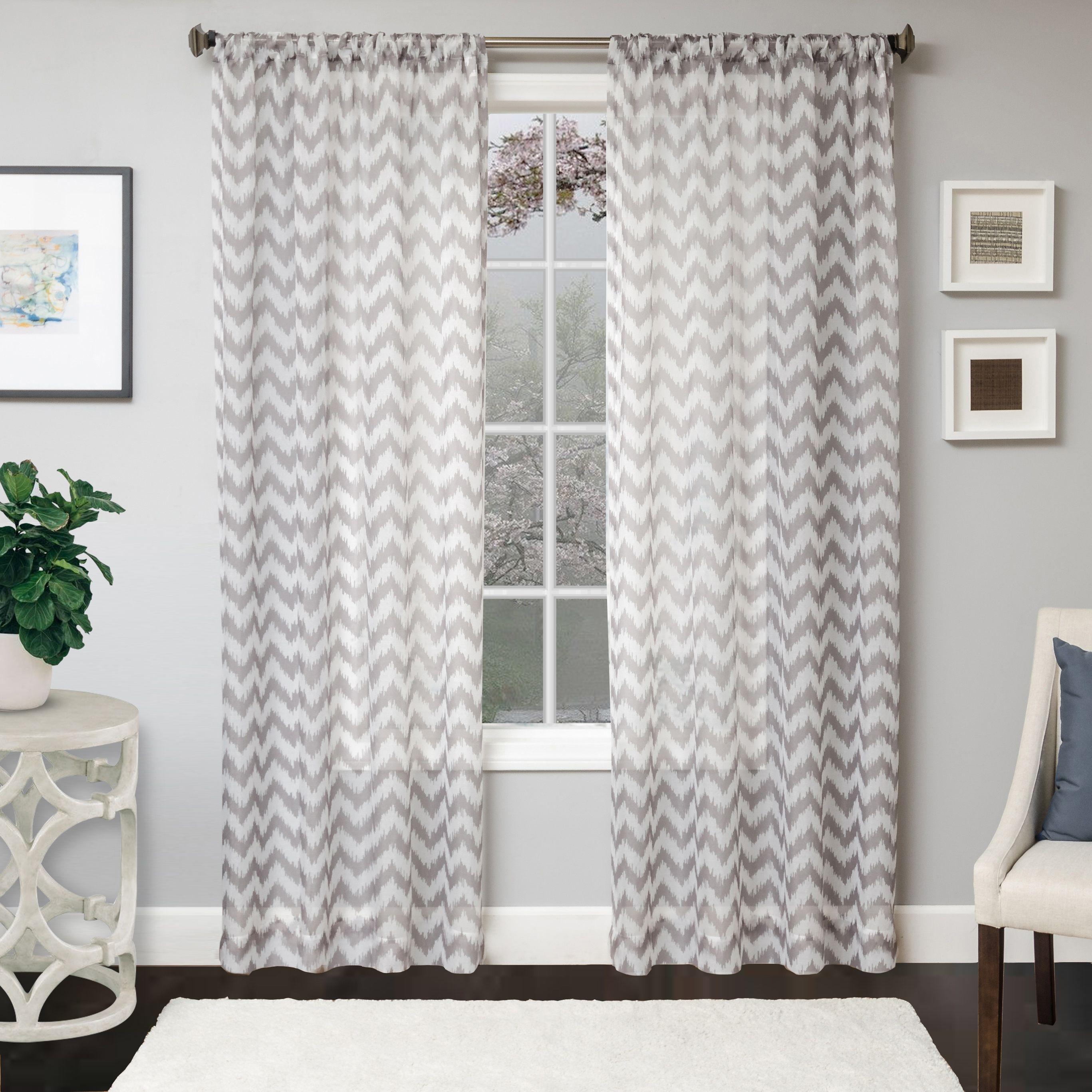 Lyra 96 Sheer Chevron Panel Curtain Platinum Sheer Curtain