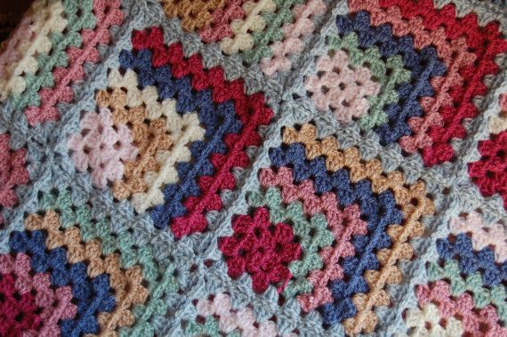 New Handmade Crocheted Granny Square Afghan    This stunning lengthwise striped afghan is made of Stylecraft Special DK    Wide and long