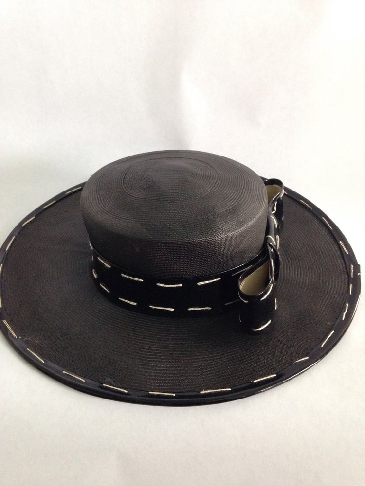 3738fb95a1ae3 YVES SAINT LAURENT 1960s STRAW HAT WITH STITCHED PATENT LEATHER BOW  Bolero