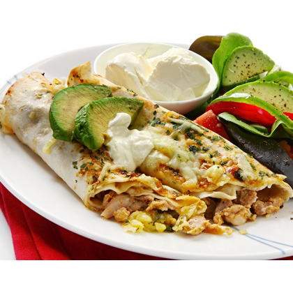 Serve this up with sour cream, �fresh avocado and tomato slices. Chicken Burrito Recipe from Grandmothers Kitchen.