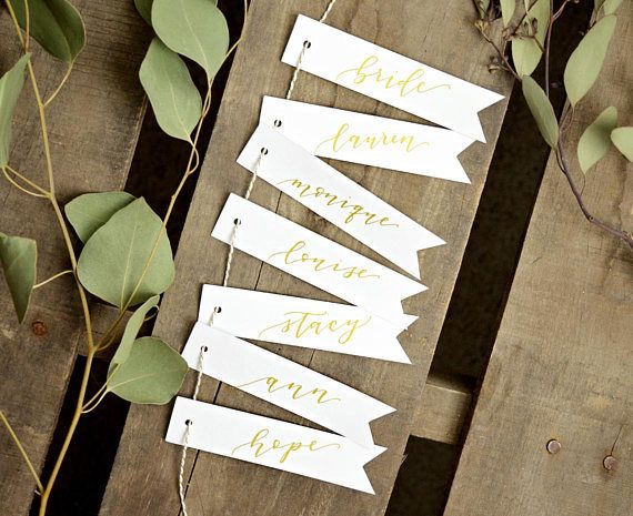 Gold Place Card Banners Personalized Calligraphy Gift Tags