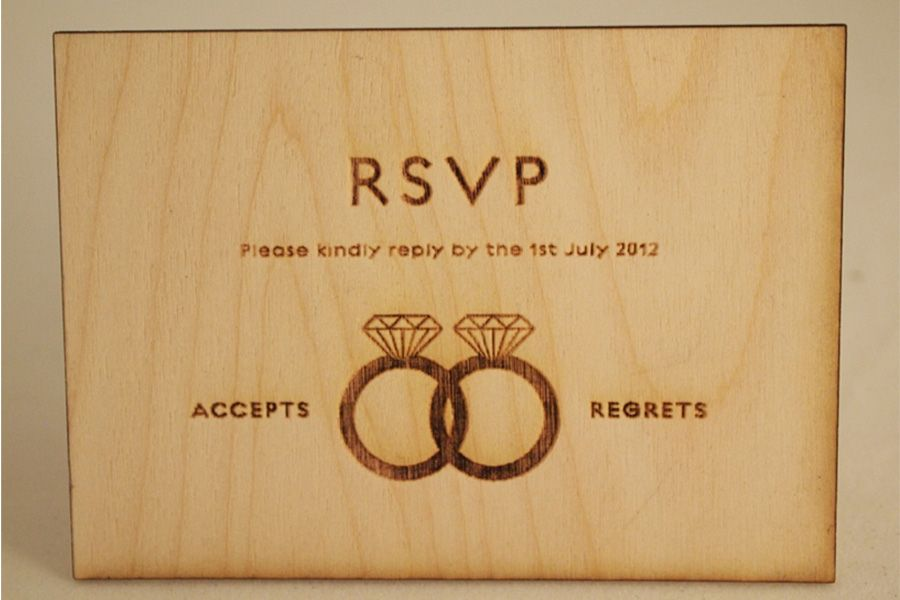 wedding invitation rsvp wording funny%0A Laser cut RSVP you just punch out the right ring and send the RSVP back