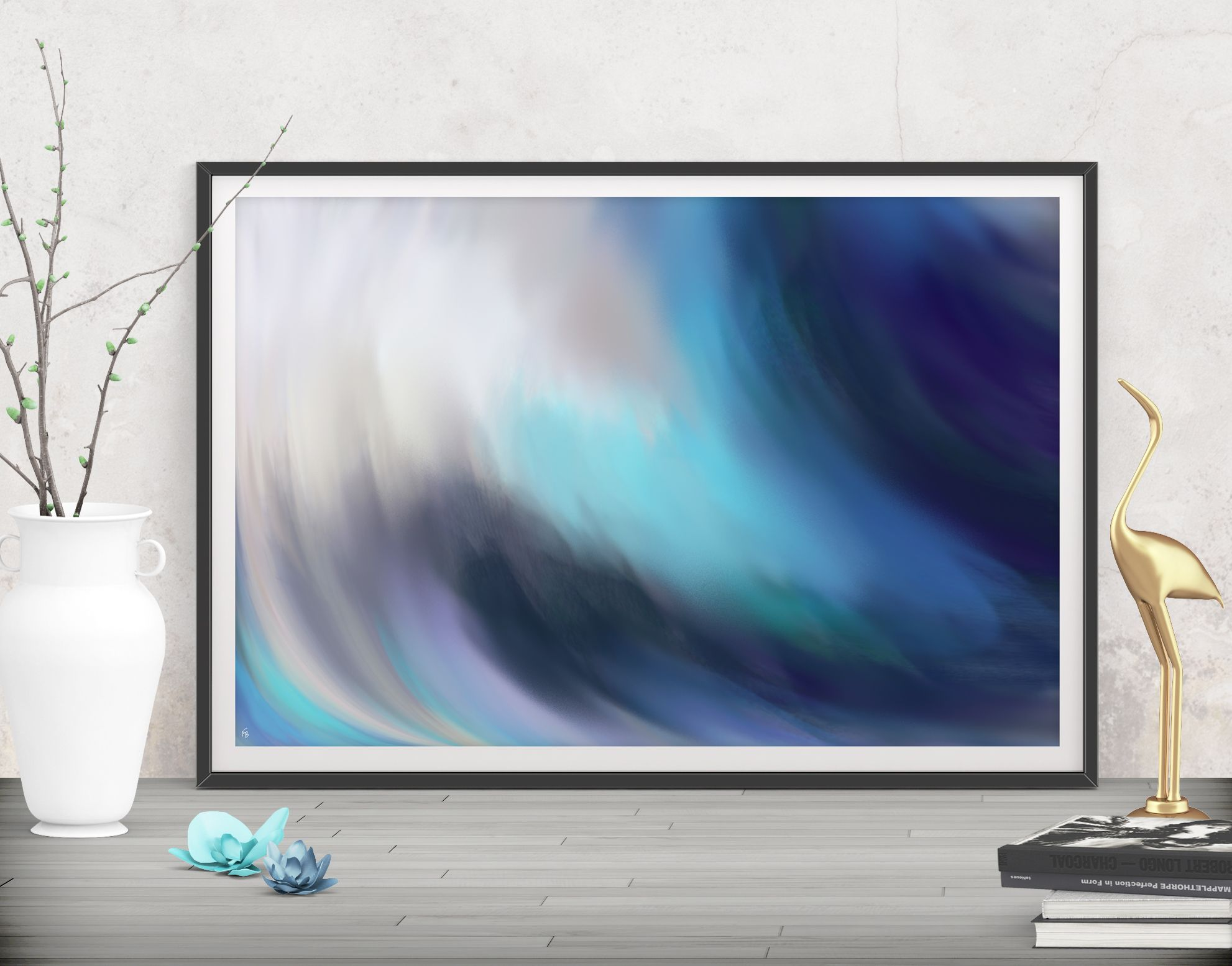 Beach decor wall art modern abstract art print minimalist - Wave Art Print Digital Download Abstract Painting Printable Wall Art Affordable Blue Large Beach Decor Modern Seascape Poster