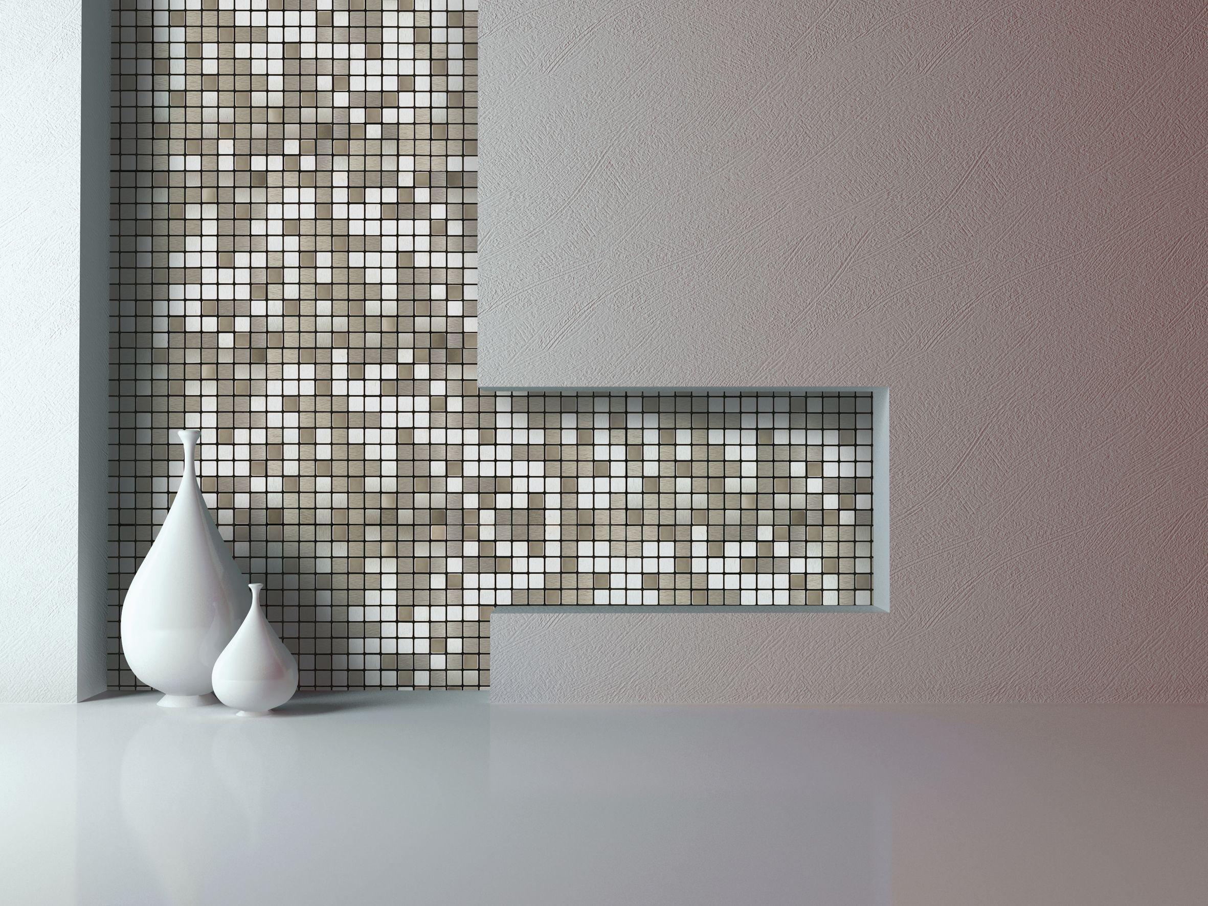 Abu Dhabi Silver Effect Brushed Metal Self Adhesive Metal Mosaic