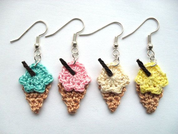 Crochet ice cream cone earrings by YellowSherbet on Etsy, £8.00