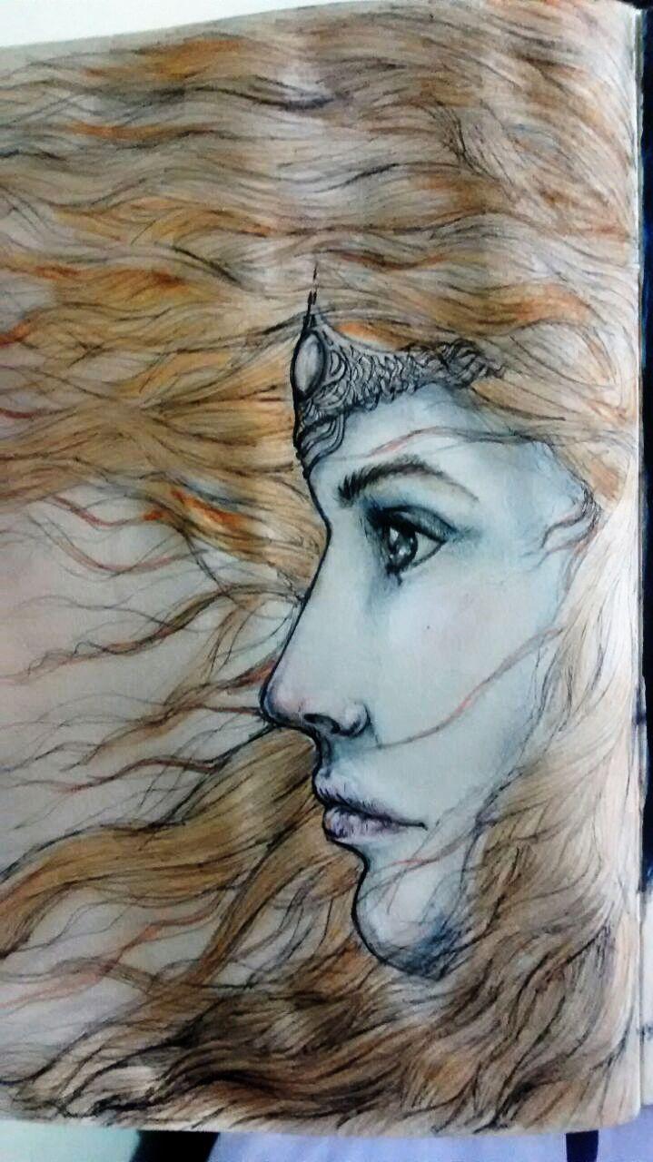 Day 2 #indiaink #nankin #sketchbook #moleskin #moleskine #365days #onesketchaday #girl #watercolor