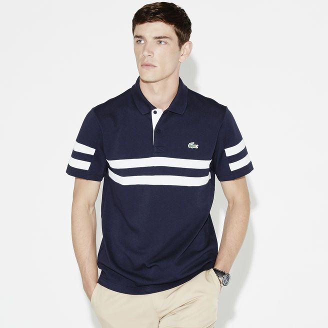 52cf2def63464 Julien Sabaud for Lacoste Fall Winter 2015-2016 Collection. He wears Polo  regular fit Golf Lacoste SPORT en piqué ultra-dry à bandes rayées.