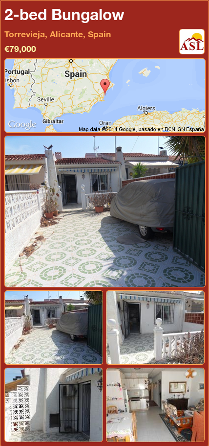 2bed Bungalow in Torrevieja, Alicante, Spain €79,000