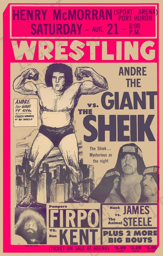 vintage andre the giant vs the shiek port huron michigan from