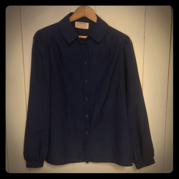 Vintage 70s Blouse Poly blend button down blouse, blue in color. Fits like a modern medium. Vintage Tops Blouses