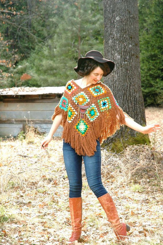 Granny Square Poncho 1970s Crochet Capelet by AstralBoutique, $28.00