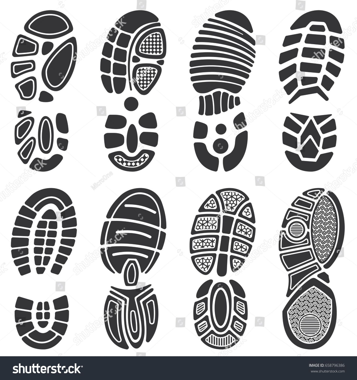 Running Sport Shoes Vector Footprint Set Silhouette Of Sole Print