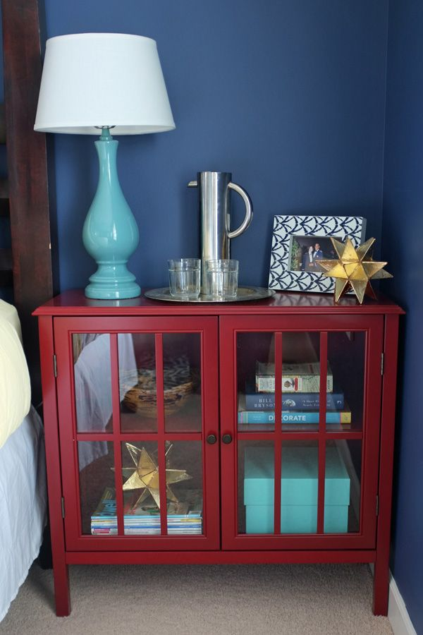 Styling The Little Red Cabinet Glass Cabinet Doors Red Nightstand Bookcase With Glass Doors