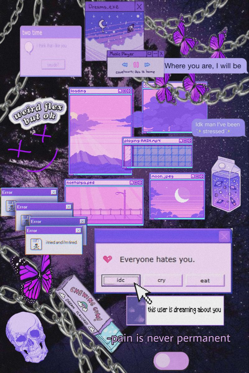 Aesthetic Purple Computer Error Themed Wallpaper Ind1e Gxrl 03 Computer Error Purple Aesthetic Cute Wallpapers